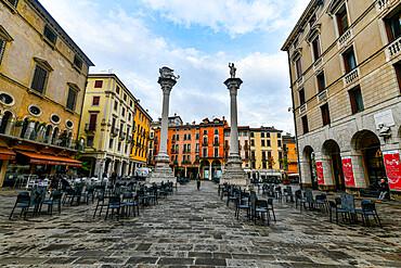Piazza dei Signori in the historic center in the Unesco world heritage site Vicenza, Italy