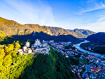 Aerial of the Unesco world heritage site Sacro Monte de Varallo, Italy
