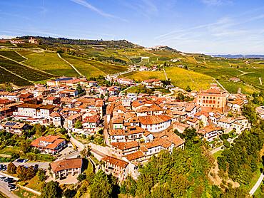 Aerials of the wineyards around Barolo, Unesco world heritage site Piedmont, Italy