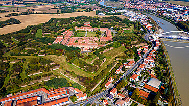Aerial of the star shaped Citadel of Alessandria, Allessandria, Italy