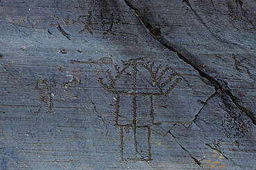 Unesco world heritage site Rock Engravings National Park of Naquane, Valcamonica, Italy