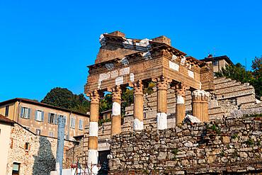 Old roman Capitolium, Piazza del Foro, Unesco world heritage site Brescia, Italy