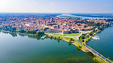 Aerial of the Unesco world heritage site the city of Mantua, Italy