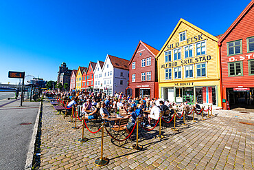 Open air cafes, Bryggen, series of Hnaseatic buildings, Unesco world heritage site, Bergen, Norway