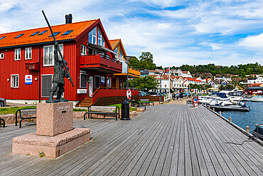 Harbour of the historic harbour town Grimstad, Norway