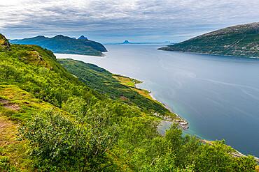 Rugged coastline along the Kystriksveien Coastal Road, Norway