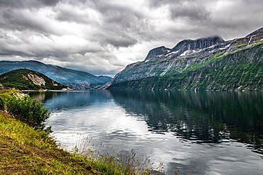 Rugged mountains around Svartisen glacier, Kystriksveien Coastal Road, Norway
