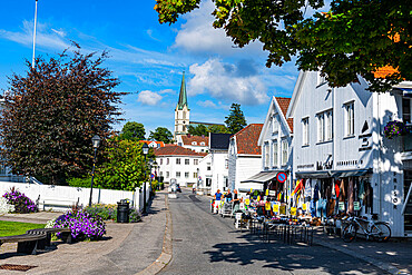 Pedestrian zone in the seaside town of Lillesand, Norway