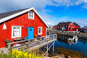 Typical red houses in the harbour of Henningsvaer, Lofoten, Norway