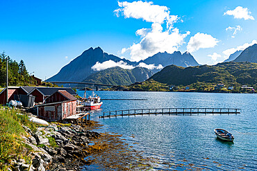 Little fish hamlets along a fjord, Lofoten, Norway