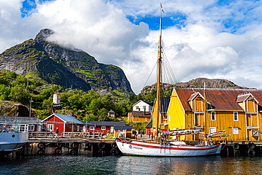 Sailing boat in the harbour of the little fishing village of Nusfjord, Lofoten, Norway