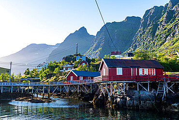 Typical red houses in the village of A, Lofoten, Norway