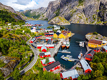 Aerial of the village of Nusfjord, Lofoten, Norway