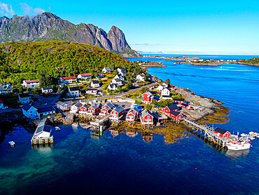 Aerial of Reine and Reinefjord, Lofoten, Norway