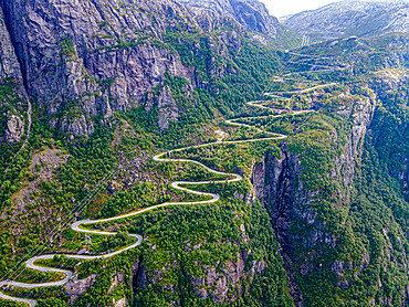 Zigzag road leading down to Lysebodn, at trhe end of Lystrefjord, Norway