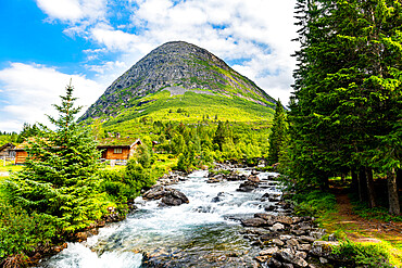 River running through the glacial valley, Trollstigen mountain road, Norway