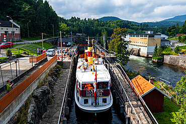 Tourist boat in the Ulefoss locks, Telemark Canal, Norway