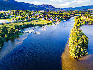 Aerial of the Norsjofjord at Akkerhauge, Telemark Canal, Norway