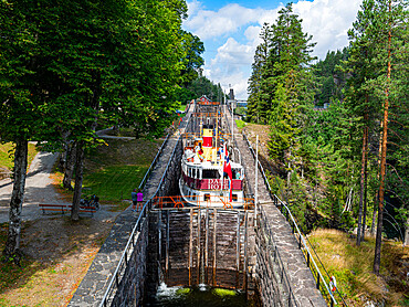 Tourist boat in the Vrangfoss locks, Telemark Canal, Norway