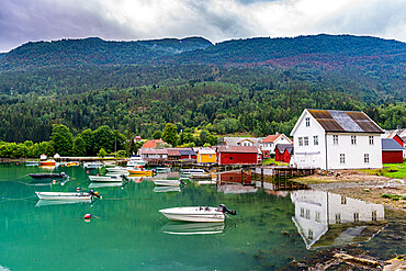 Little boats in the harbour of Solvorn, Norway
