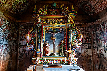 Wall paintings in the Unesco world heritage site Urnes Stave Church, Lustrafjorden, Norway