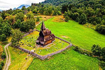 Unesco world heritage site Urnes Stave Church, Lustrafjorden, Norway