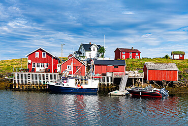 Little boat sheds in Nes, Unesco world heritage site, the Vega Archipelago, Norway