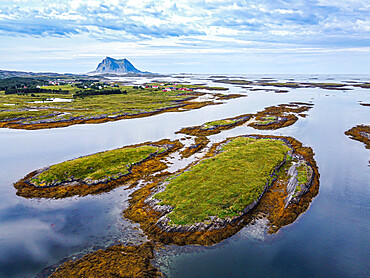 Aerial of the rugged coastline of the Unesco world heritage site, the Vega Archipelago, Norway