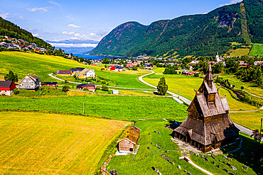 Aerial of the Hopperstad Stave Church, Vikoyri, Norway