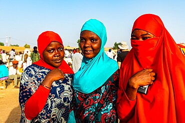 Colourful dressed women at the animal market, Agadez, Niger, Africa