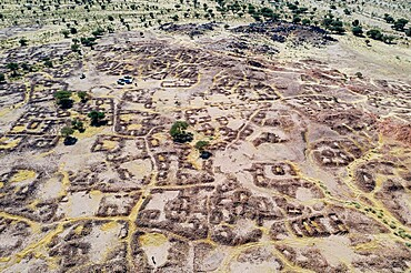 Aerial of the former Tuareg capital of Agadez, Air mountains, Niger