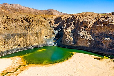Aerial of the Timia waterfall, Oasis of Timia, Air Mountains, Niger, Africa
