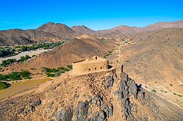 Aerial of the French Fort in the Oasis of Timia, Air Mountains, Niger, Africa