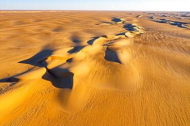Aerial of the sand dunes in the Tenere Desert, Sahara, Niger, Africa