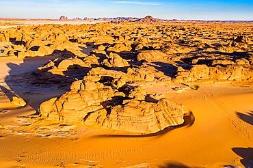 Aerial of beautiful rock formations in the Djado plateau, Tenere desert, Niger