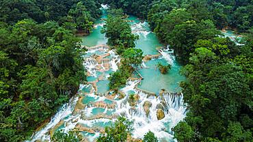 Aerial of Aguas Azules, Chiapas, Mexico, North America