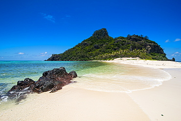 Beautiful white sand beach on Monuriki (Cast Away Island), Mamanuca Islands, Fiji, South Pacific