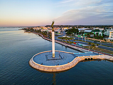 Aerial of the Angel Maya statue, Malecon, Unesco world heritage site the historic fortified town of Campeche, Campeche, Mexico