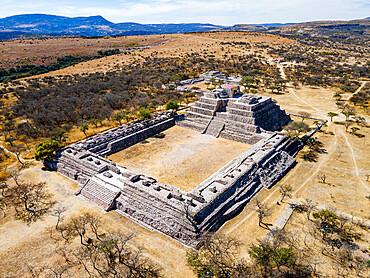 Aerial of the archaeological site of Canada de la Virgen, Guanajuato, Mexico, North America