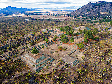 Aerial of the Mesoamerican archaeological site of Cantona, Puebla, Mexico, North America