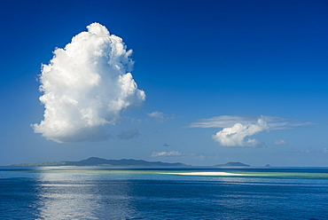 Sand bank in the flat ocean, Mamanuca Islands, Fiji, South Pacific
