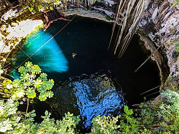 Aerial of Cenote Oxmal, Valladolid, Yucatan, Mexico, North America