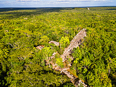 Aerial of the archaeological Maya site of Coba, Quintana Roo, Mexico, North America