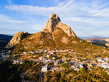 Aerial of El Bernal third largest monolith in the world, Queretaro, Mexico
