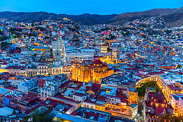 View over the UNESCO World Heritage Site at night, Guanajuato, Mexico, North America