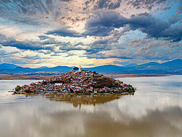 Aerial of the Janitzio island on lake Lake Pátzcuaro, Michoacan, Mexico