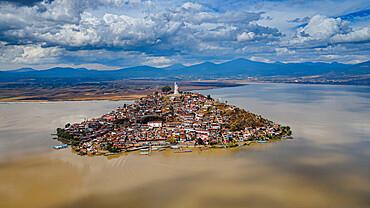 Aerial of the Janitzio island on Lake Patzcuaro, Michoacan, Mexico, North America