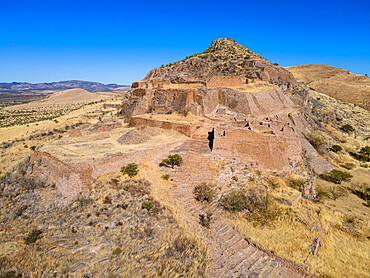 Aerial of the archeological site La Quemada also known as Chicomoztoc, Zacatecas, Mexico