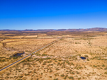 Aerial of the desert at the archeological site La Quemada also known as Chicomoztoc, Zacatecas, Mexico