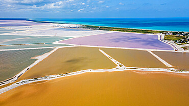 Aerial of the colourful salinas of Las Coloradas, Yucatan, Mexico, North America